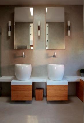 salle de bain en mlf gris perle