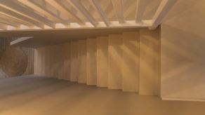 décoration marches d'un escalier à paillasse en béton ciré vernis mat couleur corde à bordeaux  pour un particulier